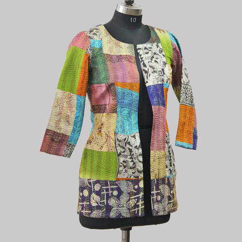 Vintage silk Kantha Long Jacket