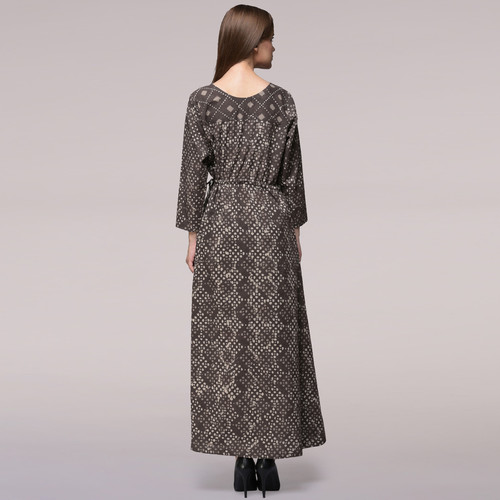 Grey Tie-up Waist Dabu-printed Cotton Dress