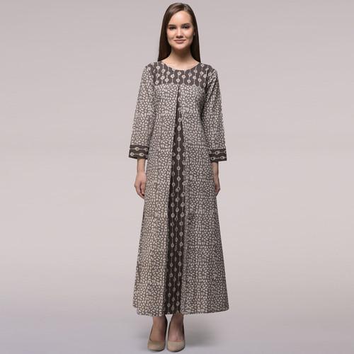 Grey Pleated Dabu-printed Cotton Dress