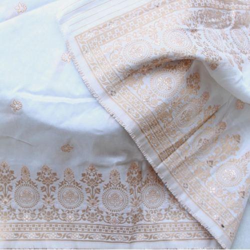 White Benarsi Silk Dupatta/Odhini