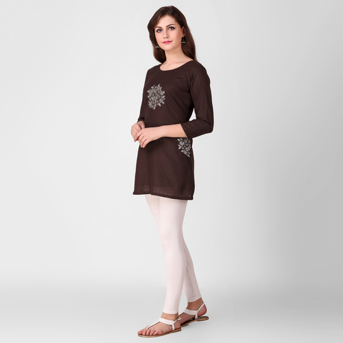 Brown Floral Embroidered Cotton Tunic