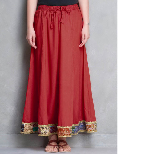 Red Cotton Silk Kantha Border Skirt