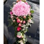 Wedding Car Décor                                                                                     Hydrangea + Rose Theme