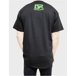 Image of the back view of Draslarics AF1 Double Hearts t-shirt for Unisex with the logo of Draslaric in neon green on the top.