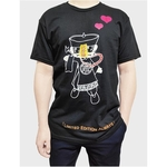 Image of the front view of Draslarics AF1 Double Hearts t-shirt for Unisex with Vamslaric, the mascot of Draslaric in full, 2 hearts and a quote Limited Edition Always at the bottom.