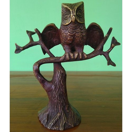 Brass Sitting Owl