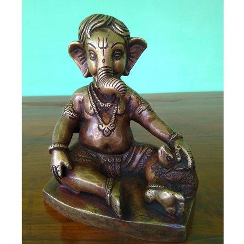 Brass Sitting Ganesha