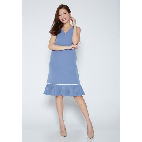 Sleeveless V-Neck Ruffle Midi Dress