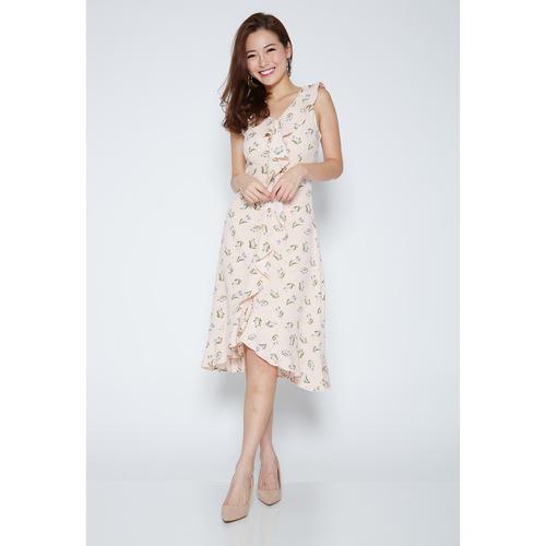 Sleeveless Floral Ruffle Dress