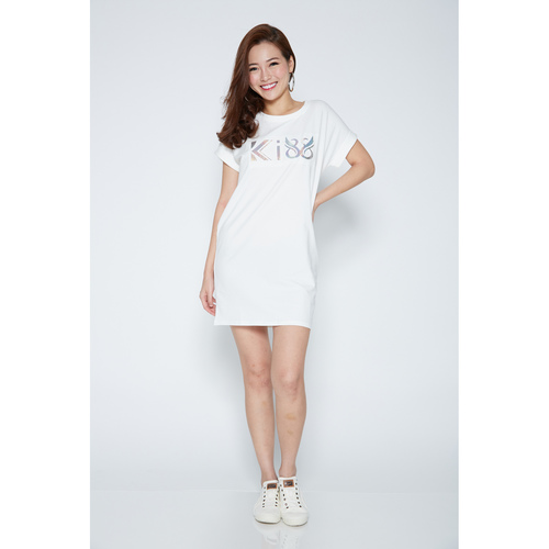 Kiss White Long T-Shirt Dress