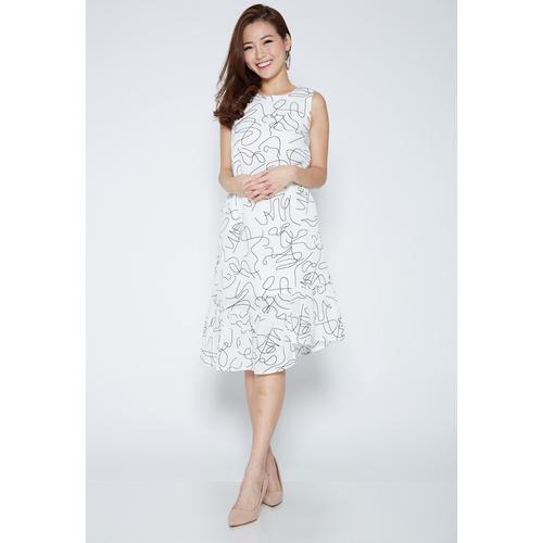 Sleeveless Scribble Asymmetrical Dress