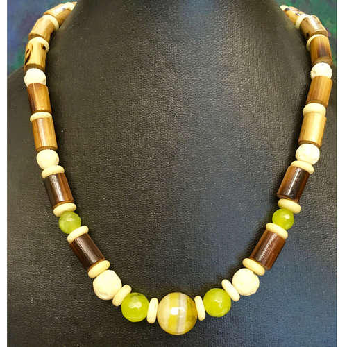Mellow in Yellow and Green: unique fashion necklace