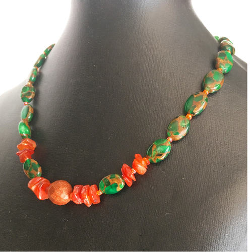 (SOLD)  Bold Statement in Red and Green necklace