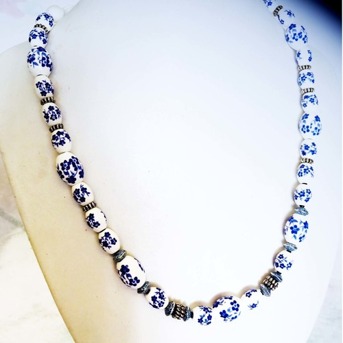 (SOLD)  Contemporary Blue and White:  fashion necklace