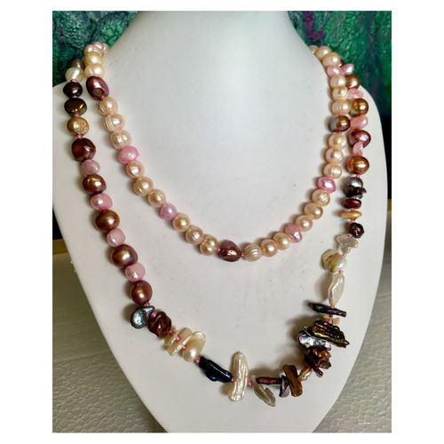 SOLD Baroque Pearls in Pink:  versatile fashion necklace