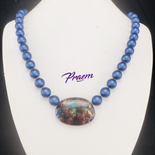 Beyond Blue:  pearl and art glass fashion necklace