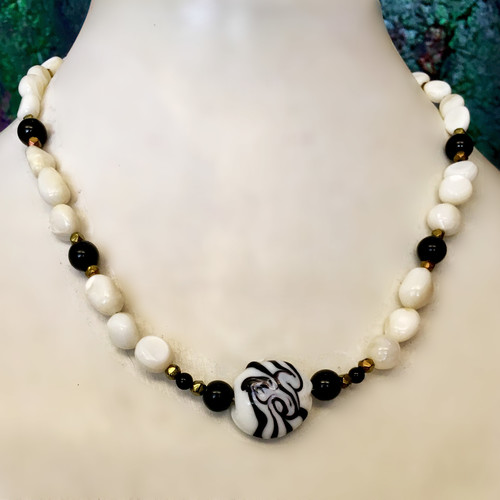 Swirling in White and Black fashion necklace