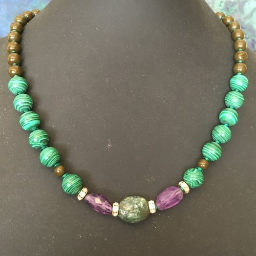 PASSION in Amethyst and Malachite - unique fashion necklace