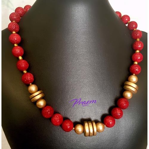 Egyptian Mystery: coral and hardwood fashion necklace