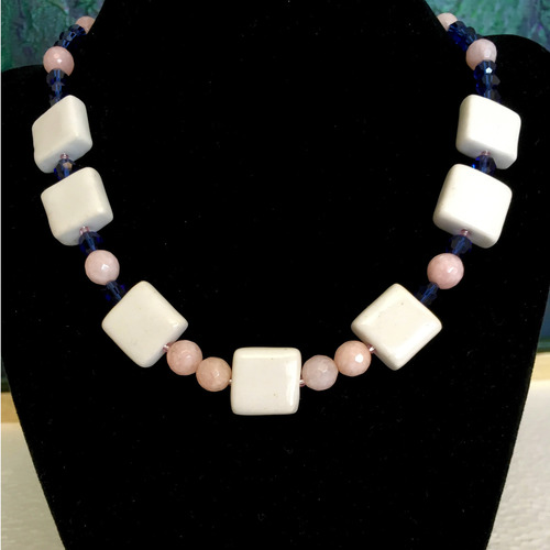 Sapphires and Rose Quartz fashion necklace