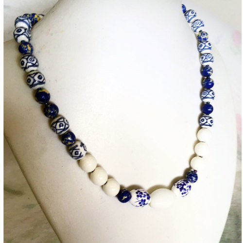 Blue and White Porcelain - fashion necklace