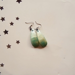 cow horn Green colour painted earring