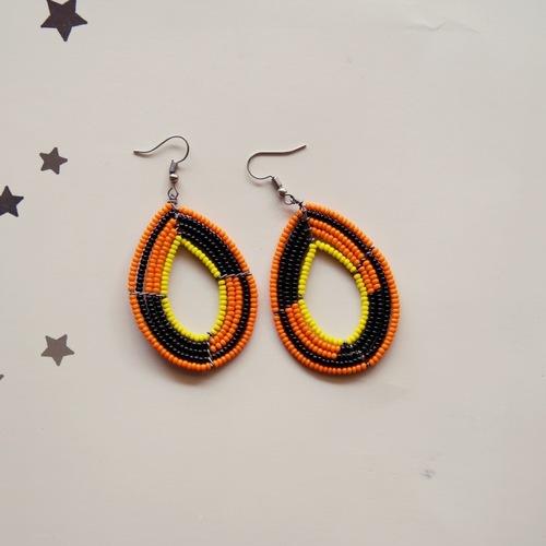 orange and black  Maasai Beaded earring