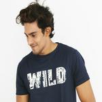 WILD PRINTED WOOLSIFY TEE - NAVY BLUE