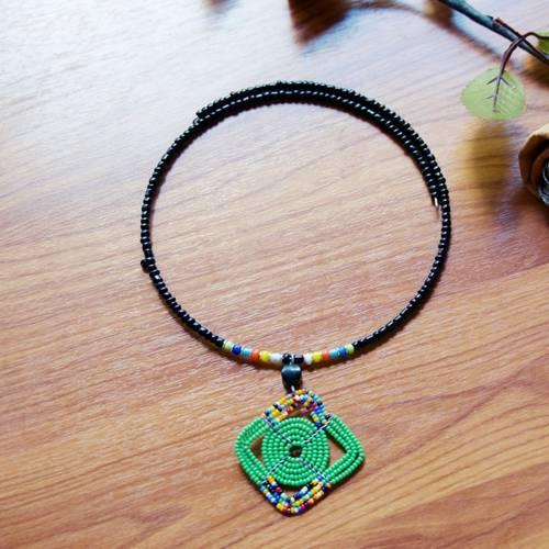 Green  Maasai Tribal Necklace