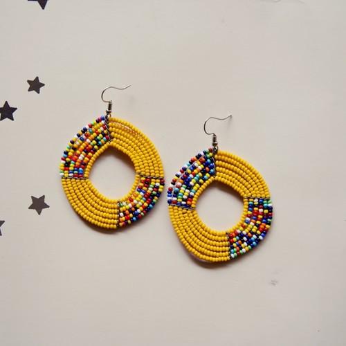 yellow and Multicoloured Maasai Beaded eaering