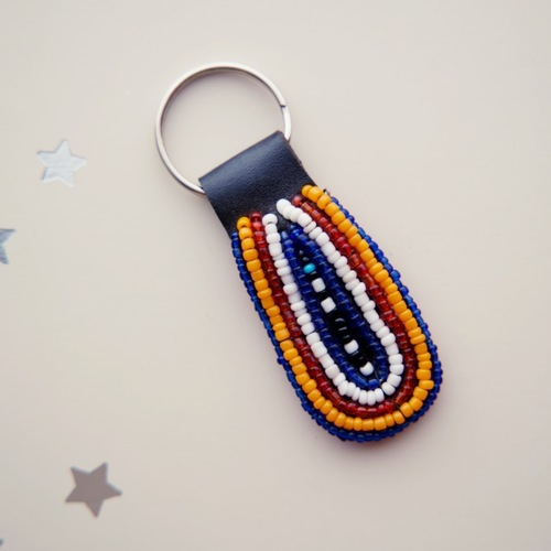 African leather beaded keychain