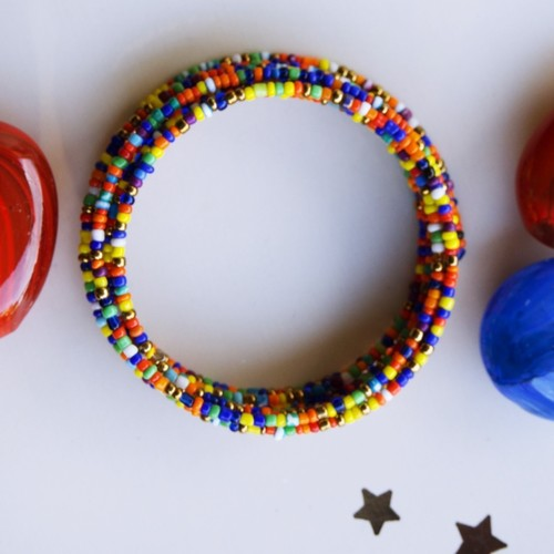 Multicoloured African spiral coil round Bangle
