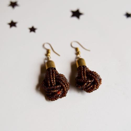 Brown African beaded Earring