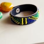 Men African EthnicTribal Masai Bead Leather Bracelet