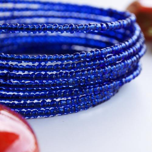 Dark Blue Spiral Maasai beads