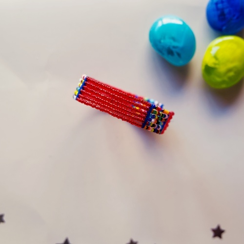 Red  and Multicoloured beaded bangle