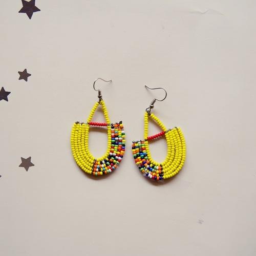 maasai yellow earring