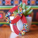 Beautiful Maasai beaded hoop earrings
