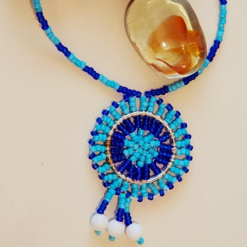 Blue Tribal Maasai Beaded Necklace