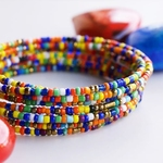 Multicoloured African spiral coil around bracelets mixed Bangle