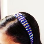 Blue and multicoloured Masai beaded head band