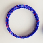 Blue beaded African coil bangle