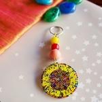yellow and Multicoloured Maasai Beaded keychain