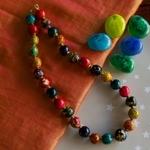 Ethnic Tribal African Kenya MAASAI Handmade MULTI-COLOURED WOODEN BEAD Necklace