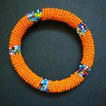 Orange Beaded Bangle