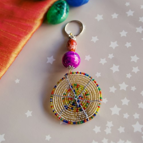 Off white and Multicoloured beaded keychain