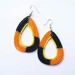 Elegant Maasai  Beaded Earring Orange Black and yellow