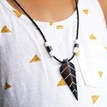 Leaf Pendant Cow Horn Necklace