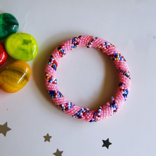 Pink and multicolour beaded bangle