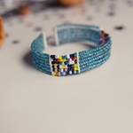 Blue and Multicoloured beaded bangle
